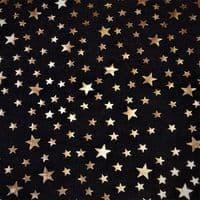 Luxury DENIM Foil STARS Fabric Material - BLUE